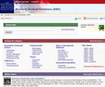 Screenshot of National Archives Access to Archival Databases homepage.