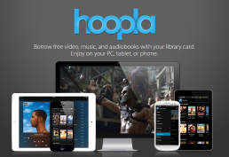 Hoopla image with picture of smart phone and e reader devices